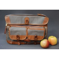 Fogg Specialist Bags-Fogg Concerto No.15 Holdall Dark Grey Fabric with Havana Leather