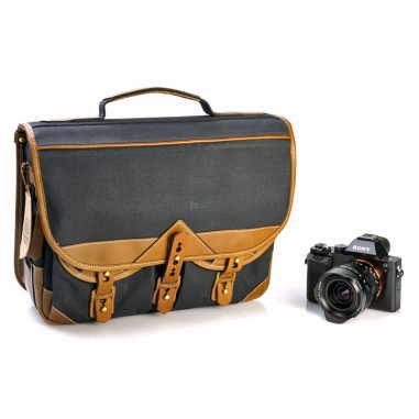 Fogg Forté Satchel Black Fabric with Havana Leather