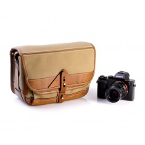 Fogg B-Laika Satchel Mocha Fabric with Havana Leather