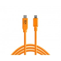 Tether Tools-TetherTools CUC2515-ORG TetherPro USB-C to 2.0 Micro-B 5-Pin, 15' (4.6m) Orange Cable