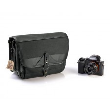 Fogg Specialist Bags-Fogg B-Laika Satchel Black Fabric with Black Leather