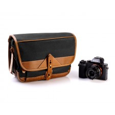 Fogg Specialist Bags-Fogg B-Laika Satchel Black Fabric with Havana Leather