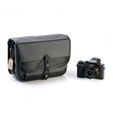 Fogg Specialist Bags-Fogg B-Laika Satchel Dark Grey Fabric with Black Leather