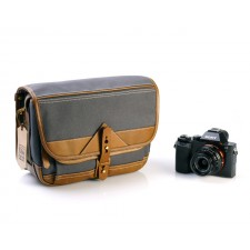 Fogg Specialist Bags-Fogg B-Laika Satchel Dark Grey Fabric with Havana Leather