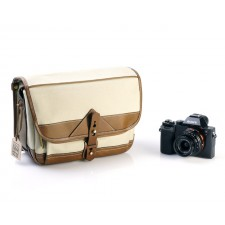 Fogg Specialist Bags-Fogg B-Laika Satchel Stone Fabric with Havana Leather