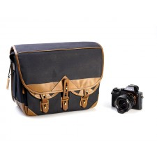Fogg Specialist Bags-Fogg B-Major Satchel Black Fabric with Havana Leather