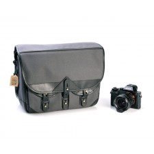 Fogg Specialist Bags-Fogg B-Major Satchel Dark Grey Fabric with Black Leather