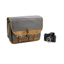 Fogg Specialist Bags-Fogg B-Major Satchel Dark Grey Fabric with Havana Leather