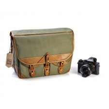 Fogg Specialist Bags-Fogg B-Major Satchel Ivy Green Fabric with Havana Leather