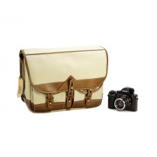 Fogg Specialist Bags-Fogg B-Major Satchel Stone Fabric with Havana Leather