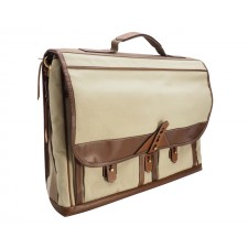 Fogg Specialist Bags-Fogg Baby Grand 15 Satchel Stone Fabric with Havana Leather