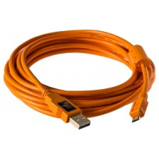 Tether Tools-TetherTools CU5430ORG TetherPro USB 2.0 Male A to Micro B 5 Pin 4.6m Cable Hi-Visibility Orange