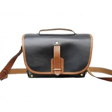 Fogg Specialist Bags-Fogg Satchmo Satchel Black leather with Havana Leather Trim