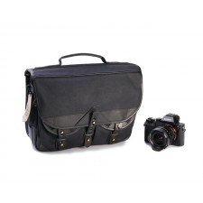 Fogg Specialist Bags-Fogg Forté Satchel Black Fabric with Black Leather