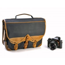 Fogg Specialist Bags-Fogg Forté Satchel Black Fabric with Havana Leather