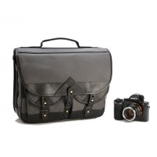 Fogg Specialist Bags-Fogg Forté Satchel Dark Grey Fabric with Black Leather