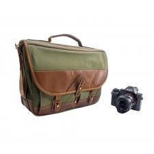 Fogg Specialist Bags-Fogg Forté Satchel Green Fabric with Havana Leather