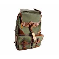Fogg Specialist Bags-Fogg Solo Backpack Green Fabric with Havana Leather